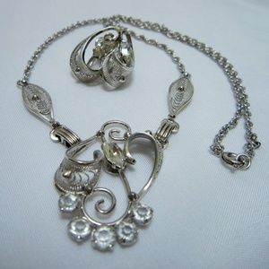 Vtg Sterling Silver Necklace Earrings Jewelry Set